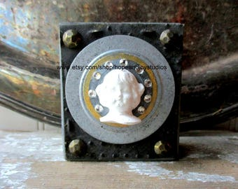 Art block Assemblage Mixed media collage icon shrine altered art folk art upcycled vintage elements sit or hang Gray Angel Girl
