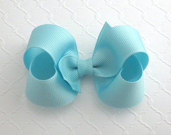 CLEARANCE ~ Pastel Baby Blue Hair Bow, Toddler Girls Hair Bow, 3 inch Boutique Style Hair Bow