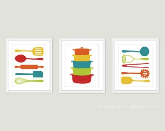 Kitchen Art Prints - Kitchen Cooking Utensils and Stacked Pots Wall Art - Modern Kitchen Prints - Yellow Red Teal Green