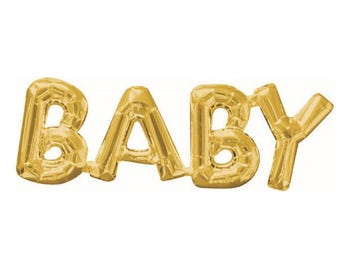 Gold BABY Balloon - Baby Shower Decor - Baby Announcement - Smash Cake Photo Prop - Letter Balloon -  Gender Reveal Decor - First Birthday