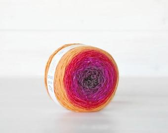 Hand Dyed Gradient Yarn - 100% Wool - Color: Flare Ombre - 1Ply Sport Yarn - Orange Color Yarn by Freia - Fuchsia Wool Yarn - Gradient Yarn