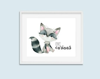 Woodland Nursery Decor Racoon Be Curious Print Animal Raccoon Printable Wall Art, Boys or Girls Decor 8x10 10x8 8x8 Instant Digital Download