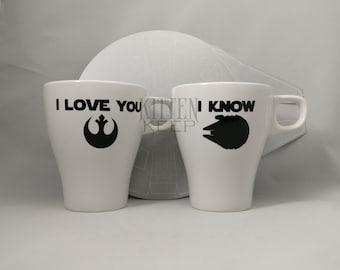 I Love You I Know Coffee Mug Set [2 Mugs]   Star Wars   Princess Leia   Han Solo