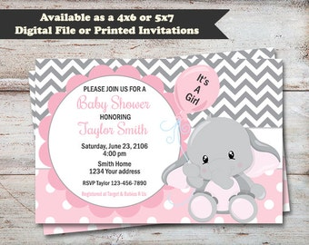 Elephant Baby Shower Party Invitations, Elephant Baby Shower, It's A Girl Shower Invitations, Elephant Invitations, Digital or Printed Cards