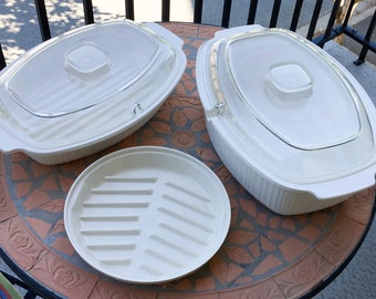 Vtg Rubbermaid 4 Qt 3.7 L  Covered Casserole Dish Microwave Cookware  Roasting Pan Almond Replacement Part 5034 5022 5032 5022 Yo