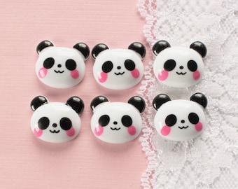 6 Pcs Kawaii Panda Bear Cabochon - 22x20mm