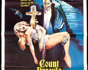 """Count Dracula and his Vampire Bride ~ 1978 U.S. 1 Sheet ~ 27""""x41"""" in VF Cond. ~ Great HAMMER HORROR Poster! Christopher Lee & Peter Cushing!"""