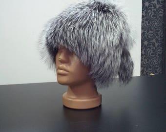 Silver fox hat, fur hat, real fur hat, fox fur hat, fox fur, winter hat, warm hat, vintage fur hat, vintage hat, winter fur hat, silver fox