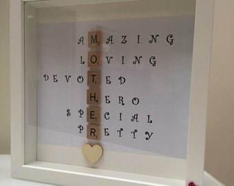 Special Scrabble Mother Mama Frame- Caring Words- Perfect present for mother -unique gift - Birthday present- Mother's Day gift