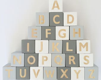 Wooden Block Set - Grey // Wooden Alphabet Blocks // Grey Nursery Decor // Wooden toys // ABC stacking blocks //
