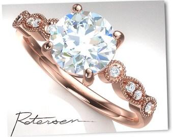 Rose Gold Diamond Ring, Rose Gold Wedding Ring, Diamond Engagement Ring, Unique Rose Gold Wedding Band, Unique Diamond Ring