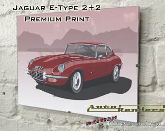 Jaguar E-type 2+2 Personalised Premium Signed Prints 12x8(A4) to 45x30(A0) Classic Cars Custom Illustration Leyland Sixties Vintage V12