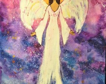 Heal the World Angel- Original Watercolor and Mixed Media Art