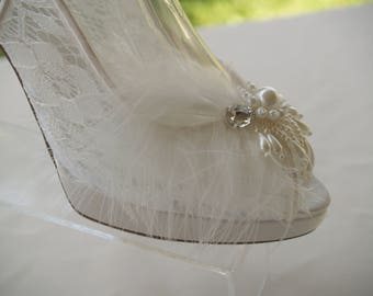 Lace Wedding Shoes IVORY, 3 3/4''  heel sling back Peep Toes Hand Embellished pearls crystals,Modern Cinderella See Thru Lace Pumps