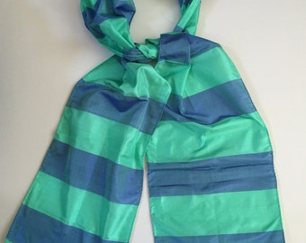 Silk Scarves, Blue and Green Silk Scarf, Raw Silk Scarves, 100% pure silk scarf, Approx 9x70 inches