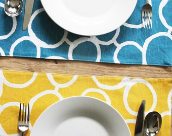 Reversible Placemats - Blue and Yellow with White Circles