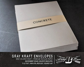 25 Kraft A6 Envelopes | Gray Envelope | 4.75 x 6.5 fits 4 x 6 Invitation | Photo Card | Environment Concrete  Envelope | Gray Kraft Envelope
