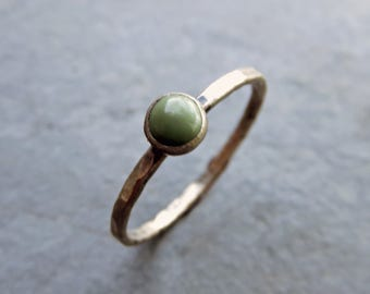 4mm Olive / Khaki Green Turquoise Stacking Ring in Rustic Antiqued Sterling Silver - Natural Kingman Arizona Turquoise