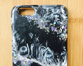 Hand painted, marble effect phone case - custom - iPhone 8 / 8 Plus