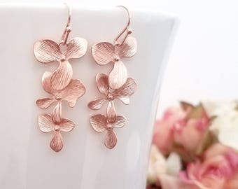 Bridesmaid Gifts ,Rose Gold Earrings, Orchid Earrings, Flower Earrings, Rose Gold Jewelry Bridesmaid Jewelry Wedding Wife Birthday Gift