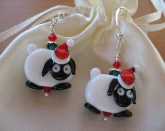 Sheep Earrings, Christmas Earrings, SALE, Sheep Jewelry, Animal Earrings, Handmade Lampwork, Farm Animals, Red White Black Green