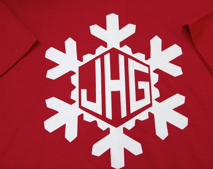 GLITTER SNOWFLAKE MONOGRAM t shirt youth adult women Personalized Christmas holiday Unlimited Color Combinations!  winter customized  ah