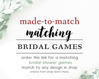 Made-To-Match Bridal Shower Games // Match to any design in shop