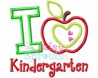 I Love Kindergarten Applique Design INSTANT DOWNLOAD