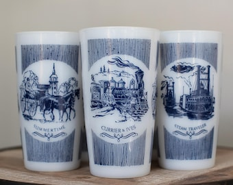 Vintage 1950s Hazel Atlas Currier and Ives Tumblers (set of 5)