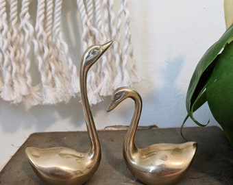 Pair of Brass Swans, Mini Brass Swans, Brass Animals, Brass Collections, Brass Accents, Wedding Decor, Boho Decor, Bohemian Vintage
