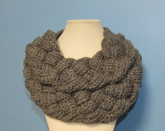 Crochet Chunky Braided Cowl Scarf, Double Layer Cowl, Braided Scarf, Teen, Adult Size, YOU CHOOSE COLOR, Gray, Cream, Black, Blue, Cream