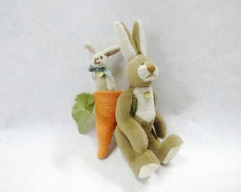 Cute Bunnykin By Ganz Cottage Collectibles Vintage Miniature Mini Bunny Rabbit With Carrot And Baby