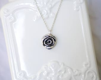 Rose necklace with Sterling Silver chain, .925 silver rose, large rose