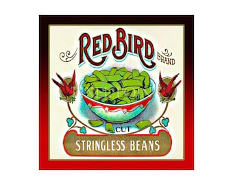 Garden Journal - Red Bird Brand Beans - Fruit Crate Art Print Cover