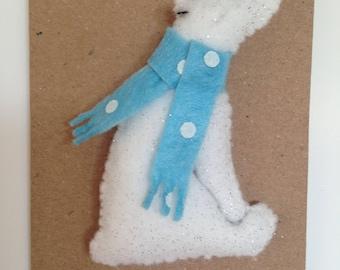 FELT BROOCH Frosty Polar Bear with scarf