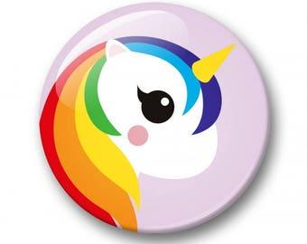 Unicorn rainbow badge 32mm | Cute unicorn pin back button | unicorn kawaii pin button  | kids party | Gift Party Favor | Unicorn Accessory
