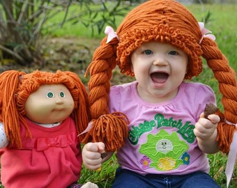 cabbage patch costume, cabbage patch wig, cabbage patch hat, halloween baby