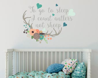 To Go To Sleep I Count Antlers Not Sheep Vinyl Wall Quote Decals Flowers Full Color Stickers Rustic Deer Antler Decor ba72