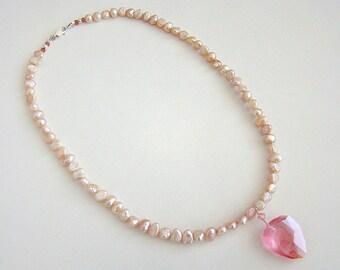 Sophisticated Primitive Necklace, Pink Swarovski Crystal Pendant, Pink Pearl Necklace, Boho Style Pearl Necklace