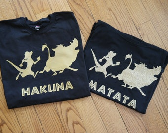 Disney Lion King Inspired Hakuna Matata shirt set; Family disney lion king shirt set;  Timone and Pumba t-shirt set, Men's Disney shirt