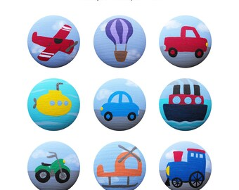 Hand Painted Knob - Children's Custom Hand Painted Travel Transportation Vehicle Drawer Knobs Pulls or Nail Covers for Kids