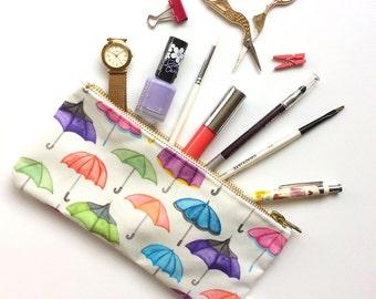Pencil Case, Umbrella, Pattern, Pencil Pouch, watercolour, Make Up Bag, Pouch, Small Bag, Zipper Pouch, Bag, pencil bag, organiser,