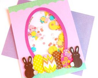 Easter Cards, Shaker Card Easter, Easter Bunny Card, Happy Easter card, Shaker Easter Card, Spring Card, Easter, Easter Chicks Card