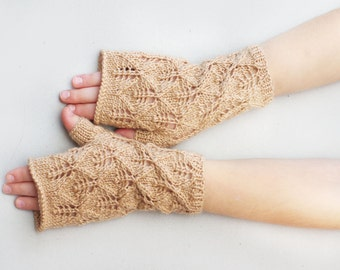 Kids Fingerless gloves, knit lace gloves, beige wool mittens, fingerless mittens, gloves kids 7T-10T, kids knitted mittens, hand warmers