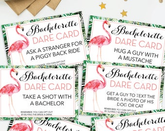 Bachelorette Party Game - Dare Card Game - Printable Bachelorette Game - Bachelorette Party - Flamingo - Bachelorette Dare Drinking Game