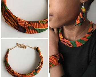 Gold chain necklace multicolor ghana fabric