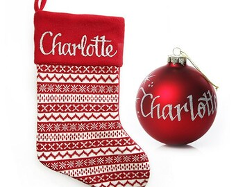 Personalied Red Knitted Stocking and Bauble Pack