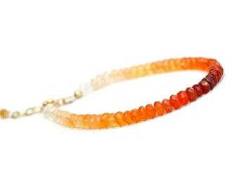 Fire Opal Bracelet, Mexican Opal stacking bracelet, October Birthstone Bracelet, Red Orange Gemstone Bracelet