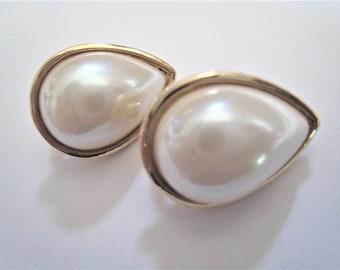 Faux Pearl Clip Earrings