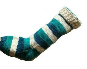 Hand Knit Christmas Stocking 2 Shades of Aqua and White Striped Wool Santa Sock